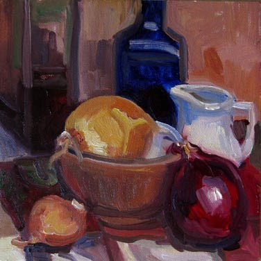 """Kitchen Onions"" original fine art by Carol Steinberg"