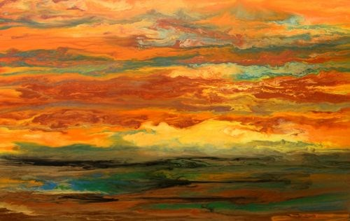 """Original Abstract Landscape Painting Blazing Sky Reflected IV by Colorado Abstract Artist Kimberly"" original fine art by Kimberly Conrad"