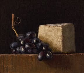 """Still Life with Camembert and Grapes"" original fine art by Abbey Ryan"