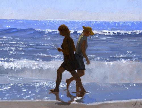 """WALKERS PASSING AT THE SHORE"" original fine art by Nancy Herman"