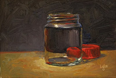 """Jar with Red Lid"" original fine art by Raymond Logan"