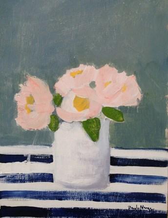 """Pink with Blue Stripes"" original fine art by Pamela Munger"