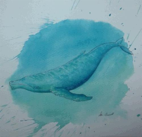 """Blue Whale"" original fine art by Staar Caswell"