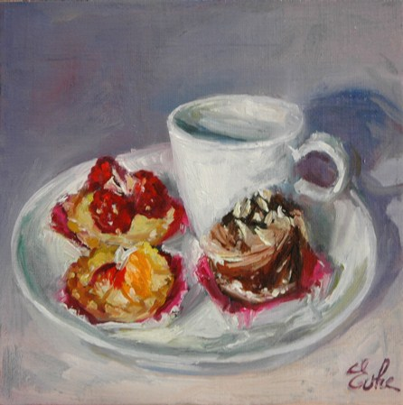 """Café gourmand"" original fine art by Evelyne Heimburger Evhe"