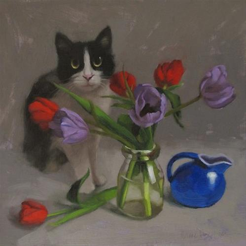 """Tux and Tulips floral still life painting with cat"" original fine art by Diane Hoeptner"
