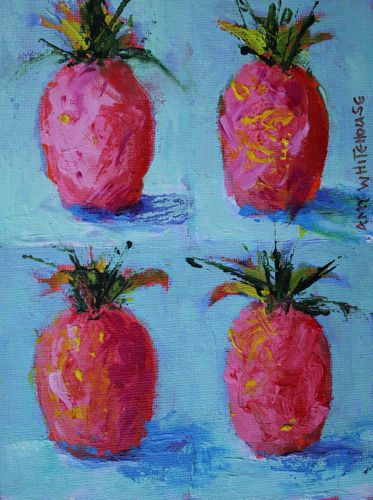 """Pink Pineapples say Hospitality, Contemporary Acrylic Still Life"" original fine art by Amy Whitehouse"