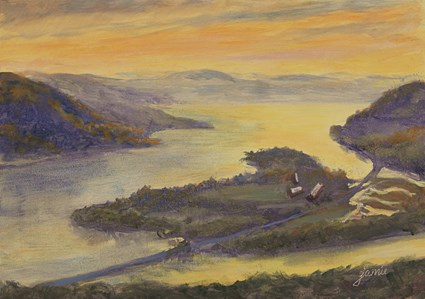 """Sunrise Glare on the Hudson"" original fine art by Jamie Williams Grossman"