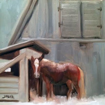"""Horse in Snow"" original fine art by Elaine Juska Joseph"