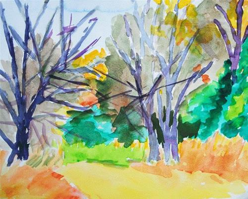 """Dueling Trees"" original fine art by Donna Crosby"