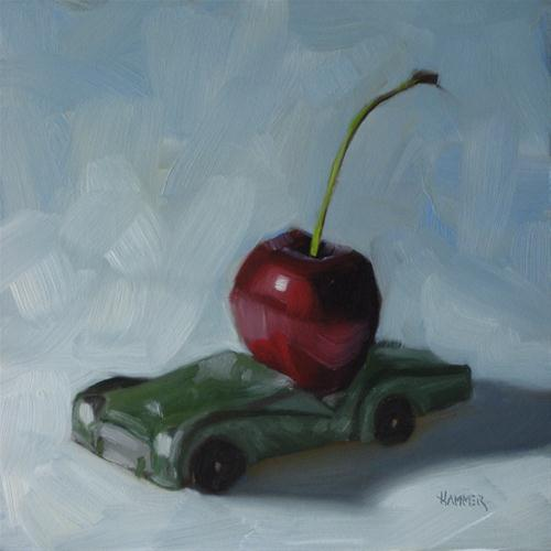 """Joy ride 6x6 oil on panel"" original fine art by Claudia Hammer"