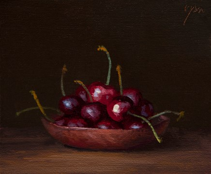 """Cherries on a Copper Plate  (+ The Radical Power of Humility)"" original fine art by Abbey Ryan"