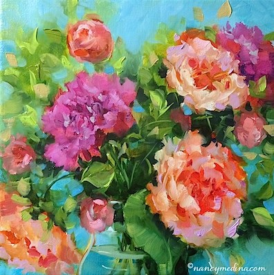 """Bloom True Peach Peonies and Off to France We Go"" original fine art by Nancy Medina"