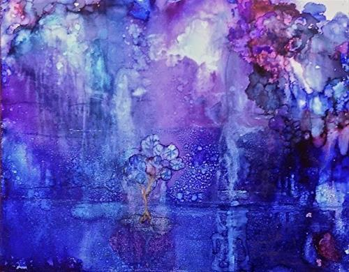 """Abstract Alcohol Ink Painting Moonlight on the Lake by Contemporary New Orleans Artist Lou Jordan"" original fine art by Lou Jordan"