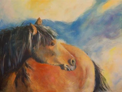 """Original Equine Painting THE-WILD-ONE-2 by Colorado Artist Nancee Jean Busse"" original fine art by Nancee Busse"