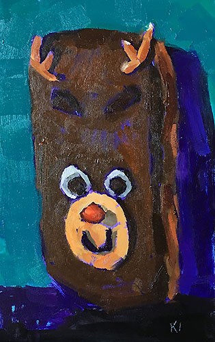 """Rudolph Donut"" original fine art by Kevin Inman"