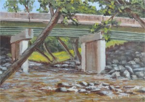 """Bridge over the Notley"" original fine art by Robert Frankis"