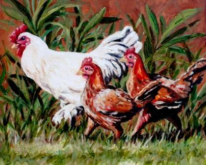 """BARNYARD BIDDIES"" original fine art by Kristy Tracy"