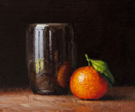 """Still Life with Clementine and Handmade Cup   (+ Workshop Info)"" original fine art by Abbey Ryan"