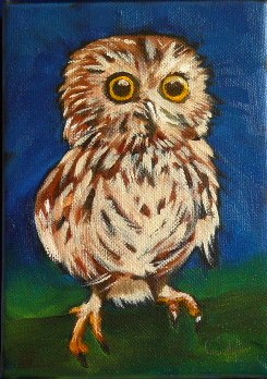 """Baby Owl"" original fine art by Claire Henning"