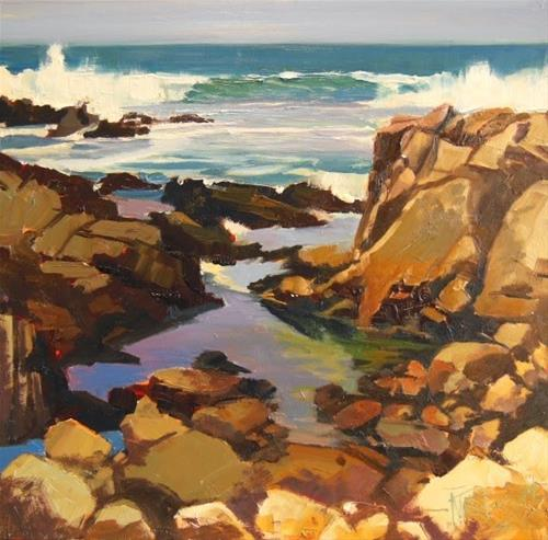 """Asilomar Surf  California, coastal, plein air painting by Robin Weiss"" original fine art by Robin Weiss"