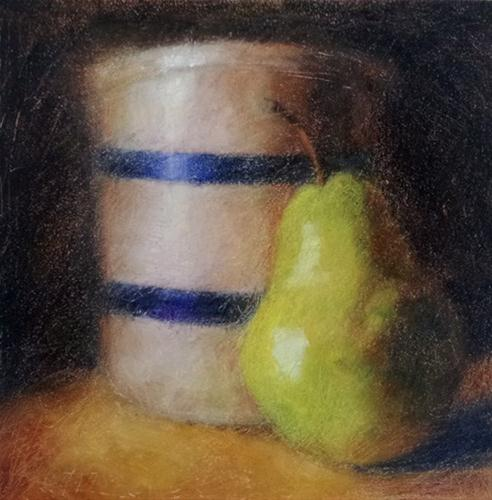 """Pear and Crock"" original fine art by Cindy Haase"
