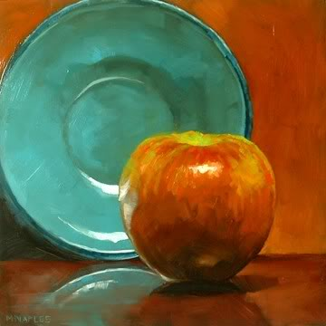 """Apple with Blue Bowl"" original fine art by Michael Naples"