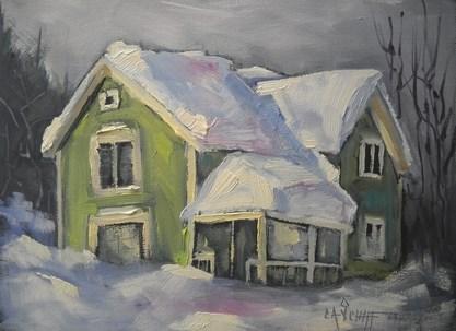 """Daily Painting, Winter Scene, Snow Palace by Carol Schiff, 6x8 Oil"" original fine art by Carol Schiff"