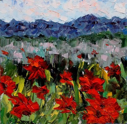 """Palette Knife Poppy  Landscape Painting Poppies With Love by Colorado Impressionist Judith Babcock"" original fine art by Judith Babcock"