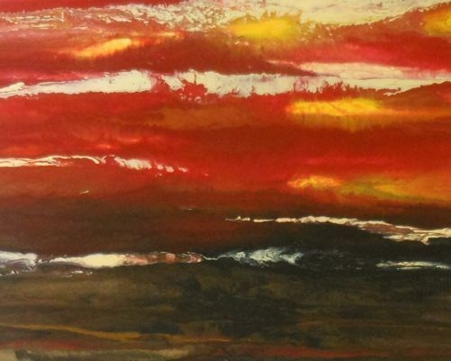 """Abstract Landscape,Sunset Art Painting The Heat is On II by Colorado Contemporary Artist Kimberly"" original fine art by Kimberly Conrad"