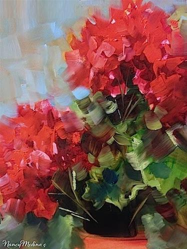 """Spring Breeze Red Geranium Painting by Floral Artist Nancy Medina"" original fine art by Nancy Medina"