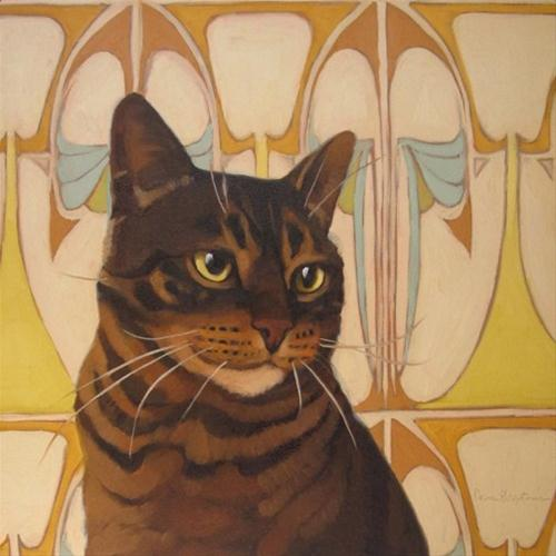 """Stripes striped cat on art nouveau background"" original fine art by Diane Hoeptner"