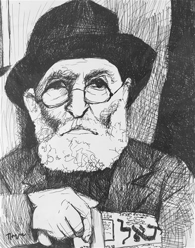 """Yiddish Newspaper"" original fine art by Nava Judith"