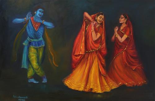 """Indian Kathak Dancers-3"" original fine art by Asha Shenoy S"