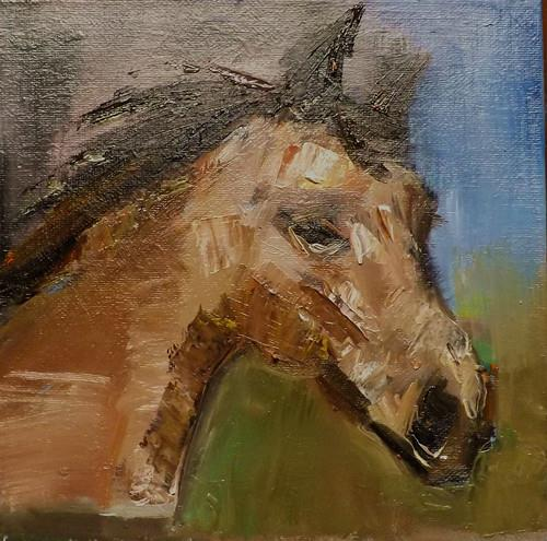 """HORSE,N18"" original fine art by Run-      Zhang Zane"