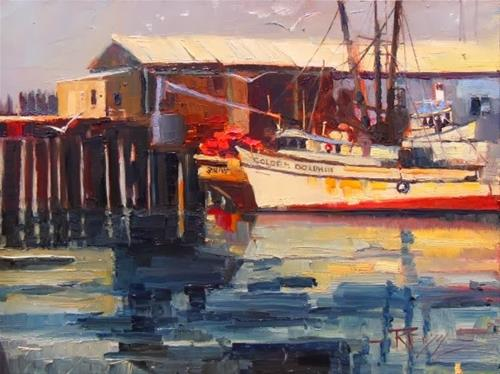 """The Golden Dolphin  Port Angeles, plein air, marinescape oil painting by Robin Weiss"" original fine art by Robin Weiss"