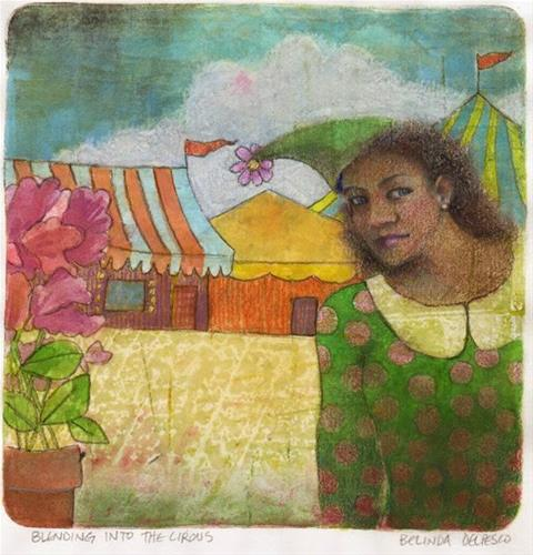 """Mixed Media Gelli Print Monotype: Blending into the Circus"" original fine art by Belinda Del Pesco"