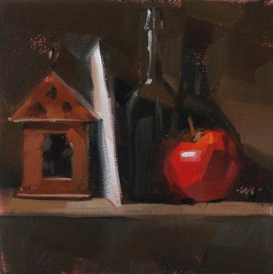 """Shelved"" original fine art by Carol Marine"