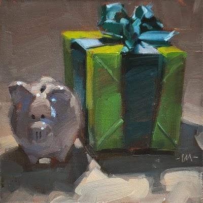 """Pig's Present"" original fine art by Carol Marine"