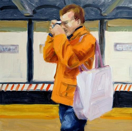 """Orange Coat"" original fine art by Deborah Newman"
