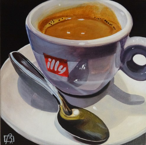 """Just one more cup"" original fine art by Andre Beaulieu"