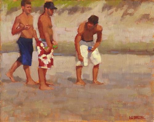 """Beach bocce"" original fine art by Kathy Weber"