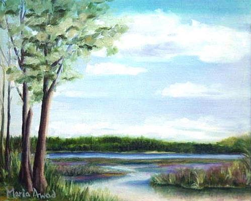 """Lake Massabesic Marsh"" original fine art by Maria Levandowski"