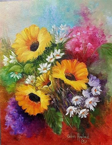 """Sunflowers and Daisies"" original fine art by Barbara Haviland"