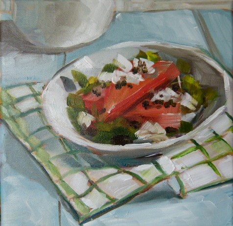 """Salat with Melone"" original fine art by Sabine Hüning"