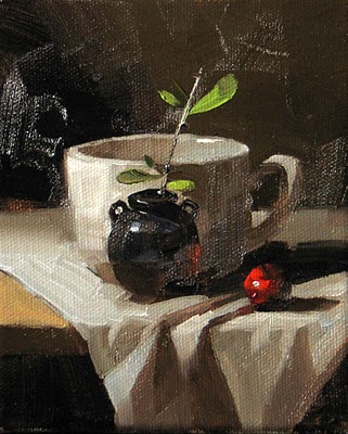 """Small Black Jar ---Sold"" original fine art by Qiang Huang"