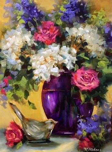 """Birds and Roses and a New Purple Vase and a North Texas Workshop by Texas Artist Nancy Medina"" original fine art by Nancy Medina"