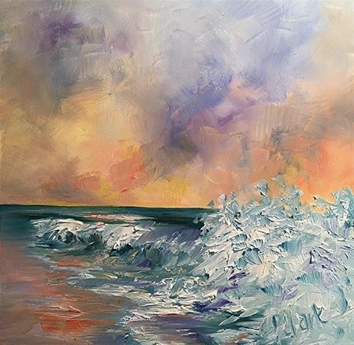 """Wave Study Four, 6 x 6, Oil, Seascape"" original fine art by Donna Pierce-Clark"