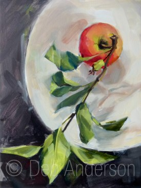 """Oil Painting: Apple, Branch and Leaves"" original fine art by Deb Anderson"