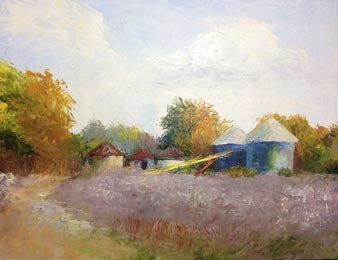 """Grain Bins"" original fine art by Carol Roark"