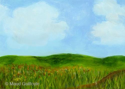 """Summer Meadow painted on first day of Summer"" original fine art by Maud Guilfoyle"